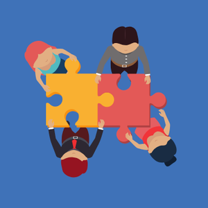 Graphic of people solving puzzles