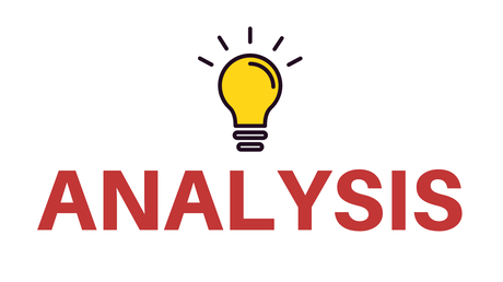 The word 'analysis' with a lightbulb shining above