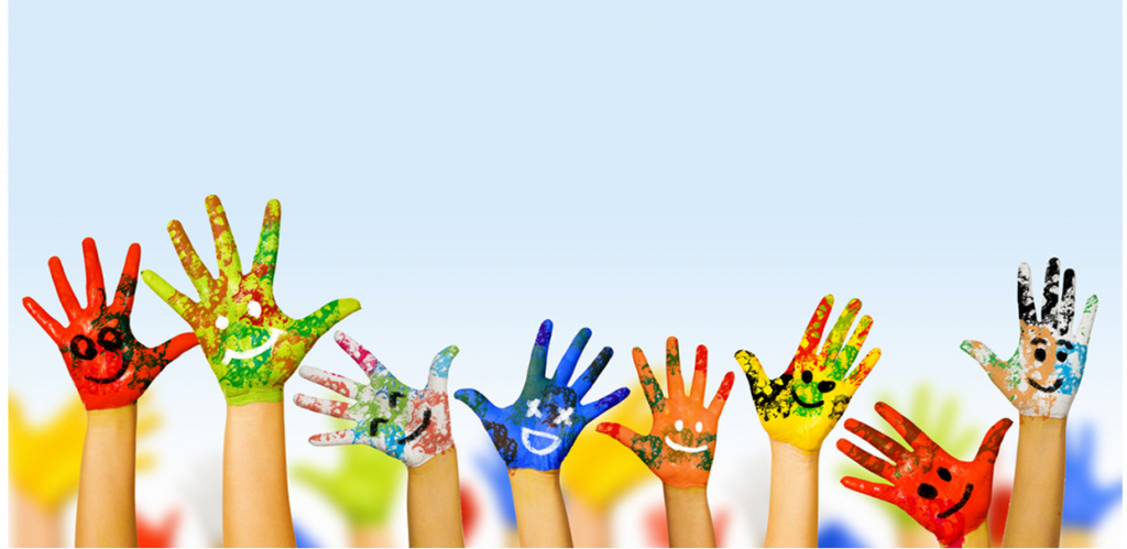 Coloured hands reaching up